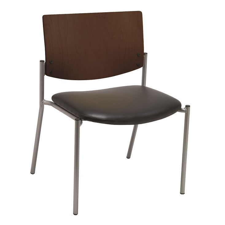 ... Our 1300 Series Extra Wide Stacking Armless Guest Chair With Chocolate  Wood Back   Grade 3