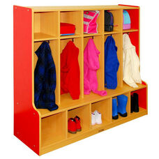 Color Essentials Five Section 10 Hook Coat Locker with Bench and 10 Cubbies - Red Side Panels