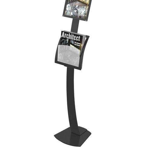 Contemporary Sign Stand Add-On Pocket Magazine Holder - Black