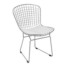 Chrome Wire Chair with White Seat Pad