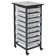 Mobile Single Row Storage Unit with 8 Small Gray Bins - Black - 17