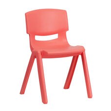 Red Plastic Stackable School Chair with 13.25