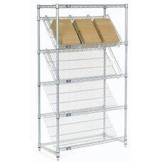 Chrome Slant Shelf Merchandiser Cart Unit - 18