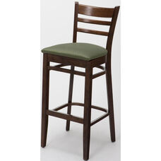 4500 Series Hardwood Frame Armless Cafe Barstool with Ladder Back and Upholstered Seat