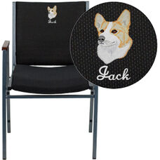 Embroidered HERCULES Series Heavy Duty Black Dot Fabric Stack Chair with Arms