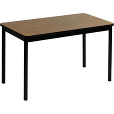 High Pressure Laminate Rectangular Lab Table with Black Base and T-Mold - Medium Oak Top - 24