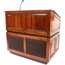 Ambassador Wired 150 Watt Sound Multimedia Lectern - Mahogany Finish - 30