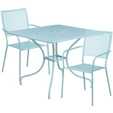"""Commercial Grade 35.5"""" Square Sky Blue Indoor-Outdoor Steel Patio Table Set with 2 Square Back Chairs"""
