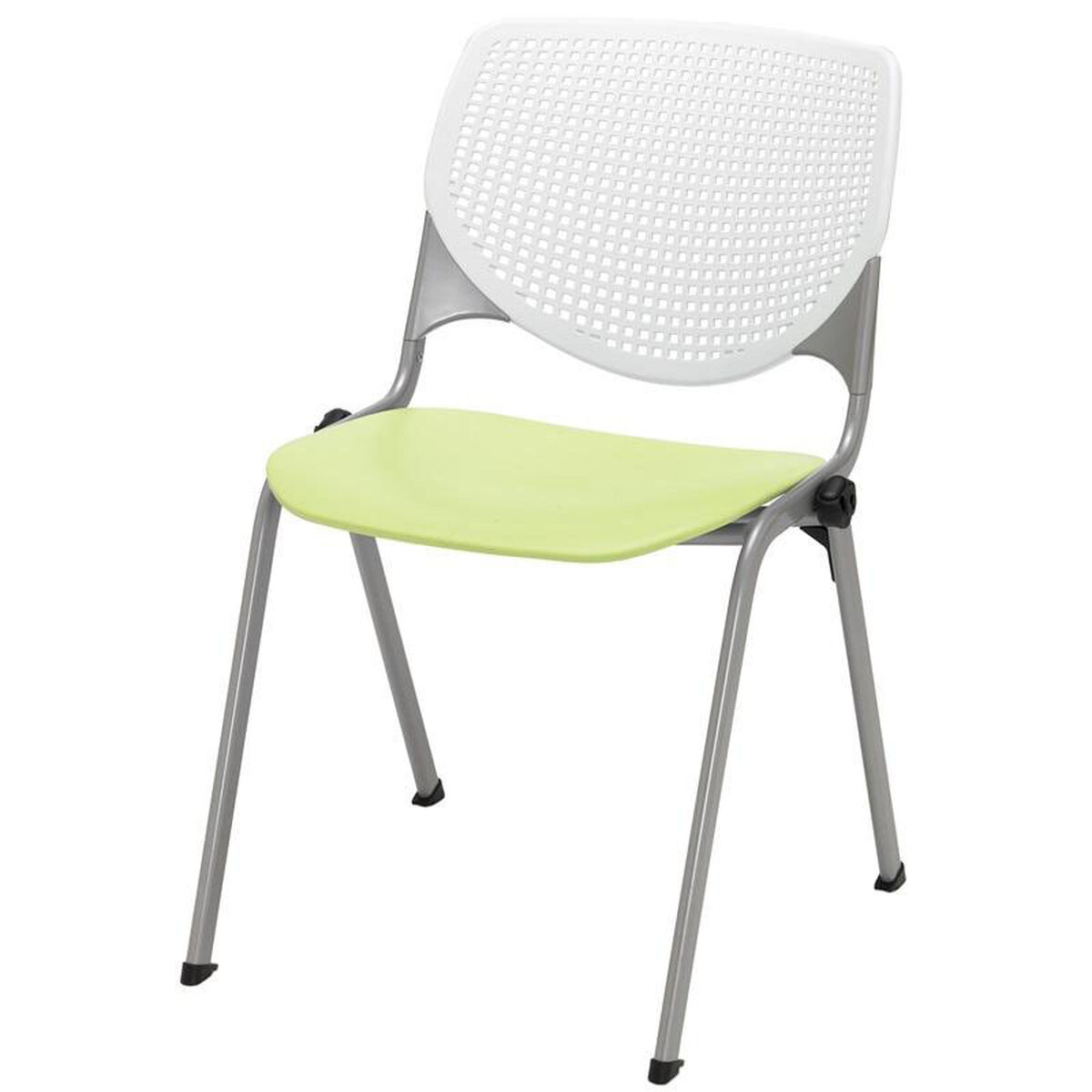 Our 2300 Kool Series Stacking Poly Armless Chair With White Perforated Back And Lime Green Seat