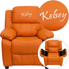 Personalized Deluxe Padded Orange Vinyl Kids Recliner with Storage Arms