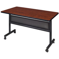 Kobe 48''W x 24''D Flip Top Laminate Mobile Training Table with Modesty - Cherry
