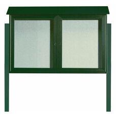 Green 2 Door Hinged Door Plastic Lumber Message Center with Vinyl Surface and Post