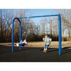 Two Seat Arch Post Swing Set with Molded Rubber Seats and Eleven Gauge Tubular Steel Frame - 96