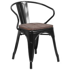 Black Metal Chair with Wood Seat and Arms