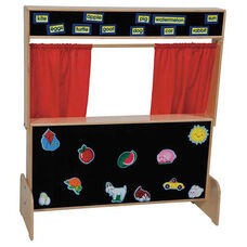 Deluxe Puppet Theater with Marquis on Top and Flannel Board Message Board on Lower Panel - 45