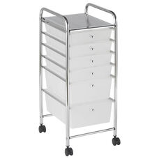 6 Drawer Mobile Organizer with Chrome-Plated Top Shelf and White Pullout Drawers