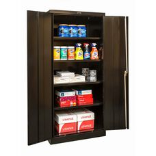 800 Series One Wide Single Tier Double Door Storage Cabinet - Unassembled - Black - 36