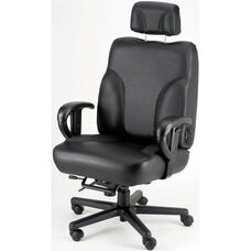 Backsaver Contoured Seat Office Chair with Adjustable Headrest - Leather