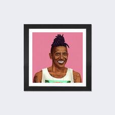 Barack Obama by Amit Shimoni Artwork on Fine Art Paper with Black Matte Hardwood Frame - 24