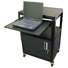 Black Height Adjustable AV Media Cart with Lockable One Door Security Cabinet and Pull-Out Laptop Shelf - 24