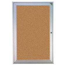 Aluminum Framed Enclosed Natural Cork Bulletin Board with Lockable Hinged Doors