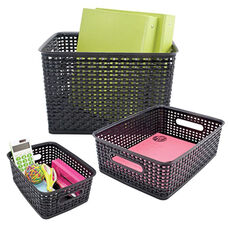 Advantus Plastic Weave Designed Desk Storage Bins in Assorted Sizes - Set of Three - Black
