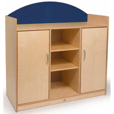 Rainbow Birch Laminate Storage Cabinet with Open and Closed Storage in Blue