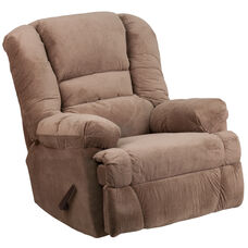 Contemporary Dynasty Camel Microfiber Rocker Recliner