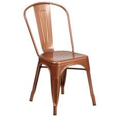 Commercial Grade Copper Metal Indoor-Outdoor Stackable Chair