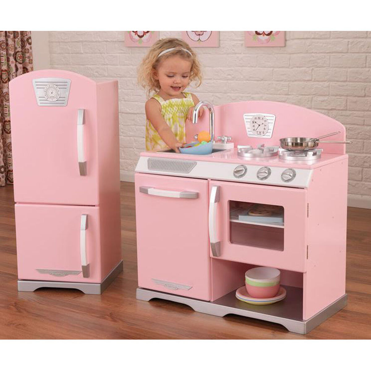 Our Kids Wooden Make Believe Retro Kitchen Stove And Refrigerator Play Set Pink Is