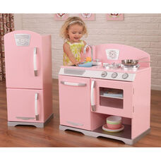 Kids Wooden Make-Believe Retro Kitchen Stove and Refrigerator Play Set - Pink