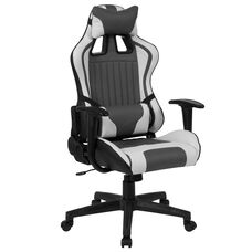 Reclining Gaming Chair Racing Office Ergonomic PC Adjustable Swivel Chair with Adjustable Lumbar Support, Gray/White LeatherSoft