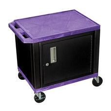 Purple Tuffy Plastic Cart with Cabinet and Black Legs
