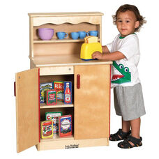 Birch Kitchen Cupboard Play Station with Two Interior Shelves and Concealing Double Doors