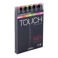 ShinHan Art TOUCH Twin 6-Piece Fluorescent Colors Marker Set