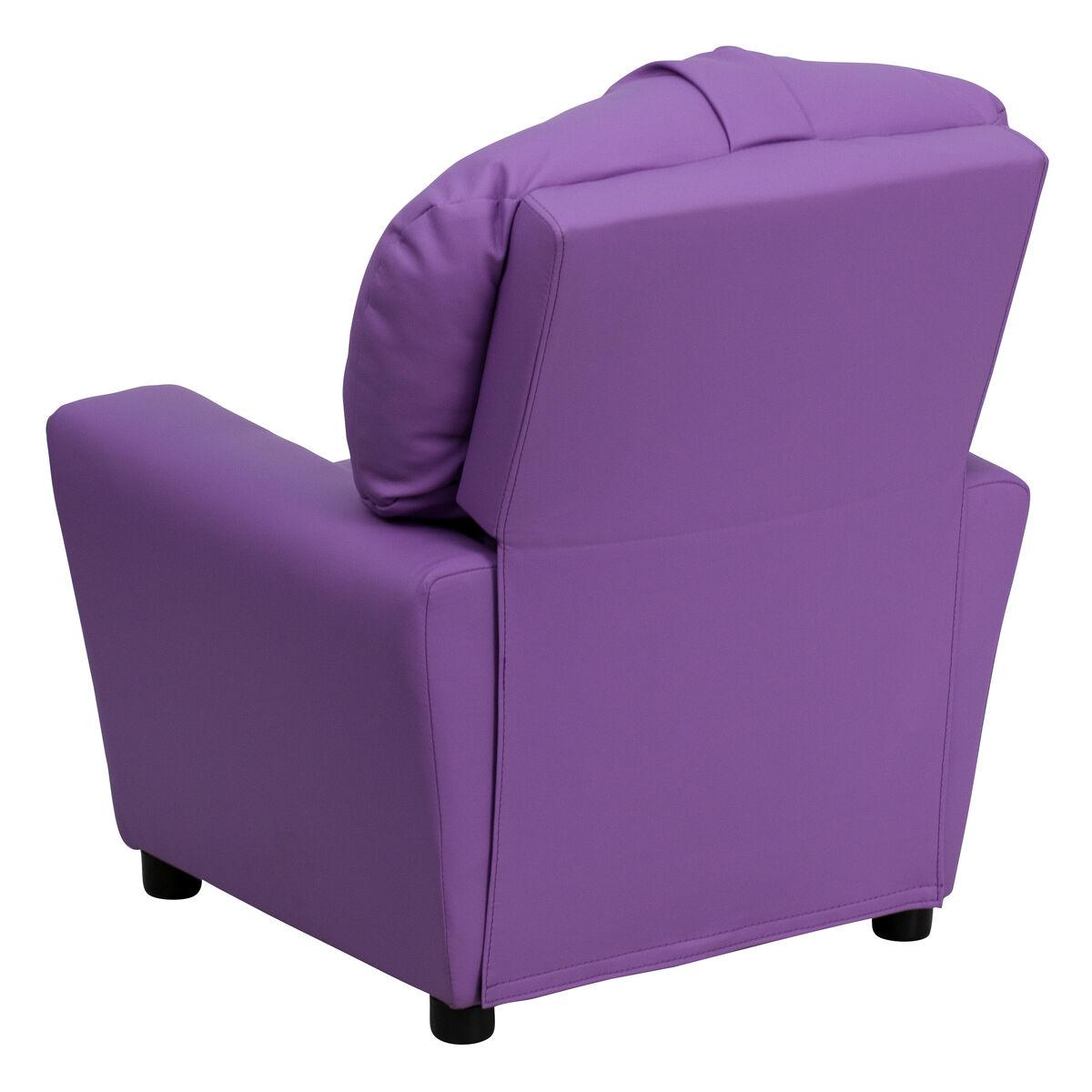 Groovy Contemporary Lavender Vinyl Kids Recliner With Cup Holder Machost Co Dining Chair Design Ideas Machostcouk
