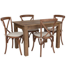 "46"" x 30"" Antique Rustic Farm Table Set with 4 Cross Back Chairs and Cushions"