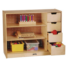 Stationary Storage Module with Shelves and Drawers