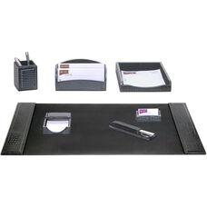 Crocodile Embossed Leather 7 Piece Desk Set - Black