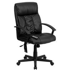 High Back Ergonomic Massaging Black LeatherSoft Executive Swivel Office Chair with Side Remote Pocket and Arms