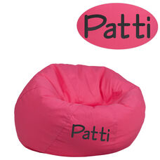 Personalized Small Solid Hot Pink Bean Bag Chair for Kids and Teens