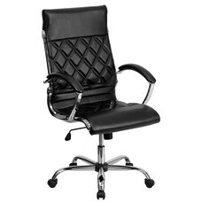 High Back Designer Quilted Black LeatherSoft Executive Swivel Office Chair with Chrome Base and Arms