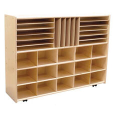 Multi-Shaped Healthy Kids Plywood Cubbie/Book Storage Unit with Tuff-Gloss UV Finish - Assembled with Casters - 46.75