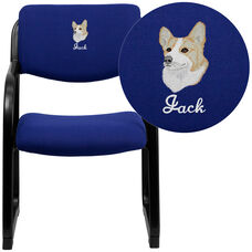 Embroidered Navy Fabric Executive Side Reception Chair with Sled Base