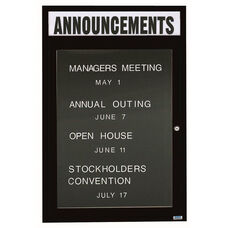 1 Door Outdoor Illuminated Enclosed Directory Board with Header and Black Anodized Aluminum Frame - 48