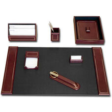24kt Gold-Tooled Leather 7 Piece Desk Set - Burgundy