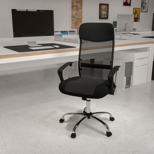 High Back Black Leather and Mesh Swivel Task Office Chair with Arms