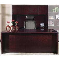 OSP Furniture Kenwood Hardwood Veneer Executive Office Set with Curved Metal Drawer Pulls