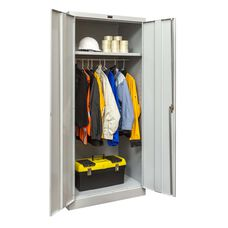 800 Series Antimicrobial One Wide Single Tier Double Door Wardrobe Cabinet - Unassembled - Light Gray - 36