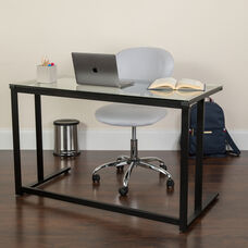 Glass Desk with Black Pedestal Metal Frame